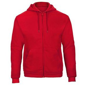 Hooded full zip Sweatshirt red